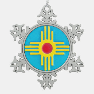 New Mexico Sun Snowflake Pewter Christmas Ornament
