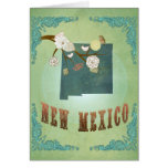 New Mexico Vintage State Map – Green Greeting Card