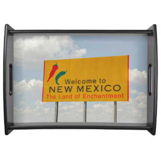 New Mexico Welcome Sign - The Land of Enchantment Serving Tray
