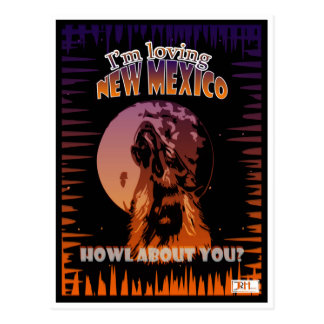 New Mexico Wolf howling / Lobo Postcard Art