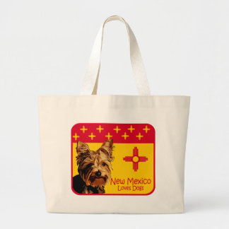 New Mexico Yorkie Large Tote Bag