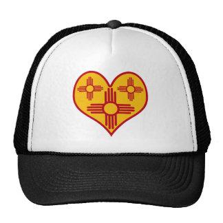 New Mexico Zia Heart Mesh Hats