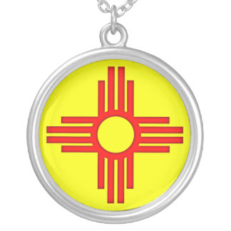 New Mexico Zia Sun Symbol Silver Plated Necklace