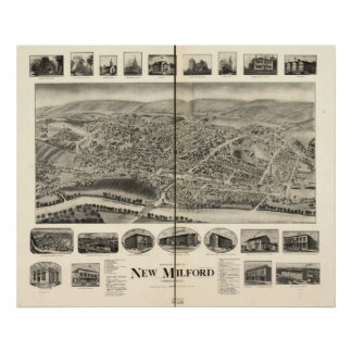 New Milford Connecticut 1906 Antique Panoramic Map Posters