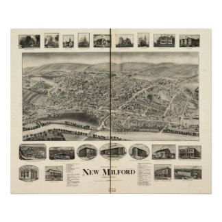 New Milford Connecticut 1906 Antique Panoramic Map Poster