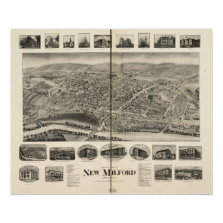 New Milford Connecticut 1906 Panoramic Map Poster