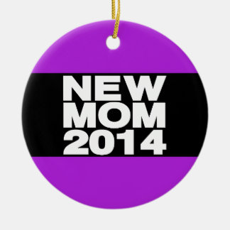 New Mom 2014 Lg Purple Round Ceramic Decoration