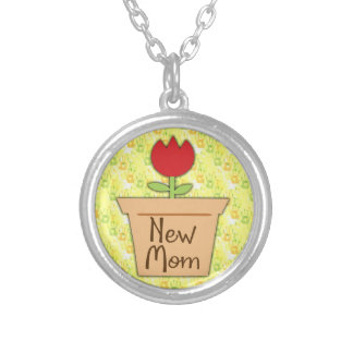 New Mom, Cute Red Tulip Flower Silver Plated Necklace