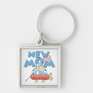 New Mom It's a Boy Gifts Silver-Colored Square Key Ring