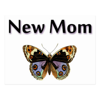 New Mom with Butterfly Illustration Postcard