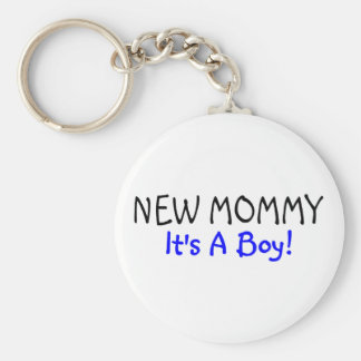 New Mommy Its A Boy Blue Basic Round Button Key Ring
