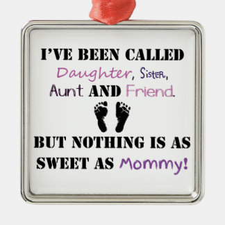 New mommy Silver-Colored square decoration