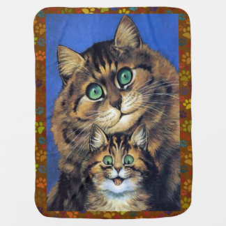 New Mother Cat and Her Kitten Wain Baby Blanket