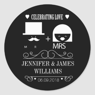 New mr & and mrs black and white wedding favours classic round sticker