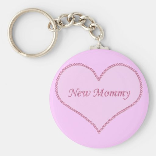 New Mummy Keychain, Pink Basic Round Button Key Ring