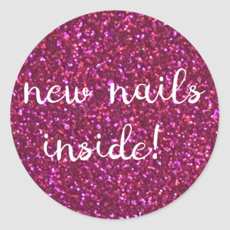 new nails inside! faux pink glitter sticker