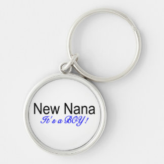 New Nana Its A Boy Silver-Colored Round Key Ring