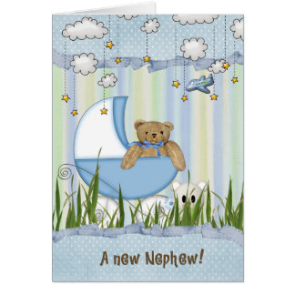 New Nephew-teddy bear in buggy Card