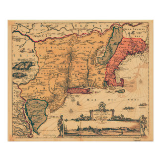 New Netherlands and New England Map Poster