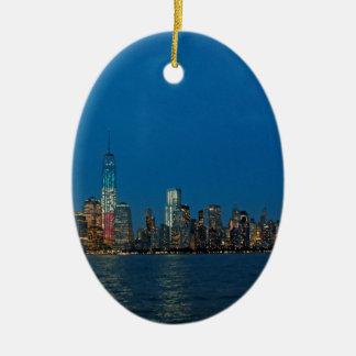 New night lights of New York City USA Ceramic Oval Decoration