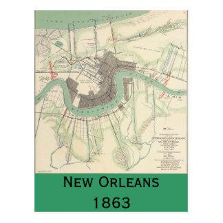 New Orleans Civil War Map 1863 Postcard