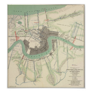 New Orleans Civil War Map 1863 Poster