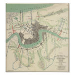 New Orleans Civil War Map 1863 Posters