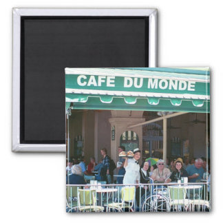 New Orleans Coffee and Beignets Square Magnet
