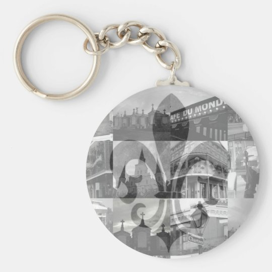 New Orleans Collage [Keychain] Basic Round Button Key Ring