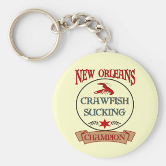 New Orleans Crawfish Champ Basic Round Button Key Ring