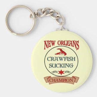 New Orleans Crawfish Champ Basic Round Button Key Ring