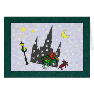 New Orleans Crawfish Mule Buggy Cathedral Xmas Greeting Card