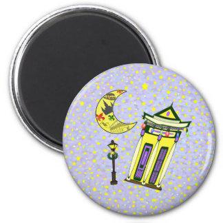 New Orleans Crescent Moon Christmas Fridge Magnet