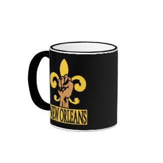 New Orleans  Fleur De Lis  Fist, Ringer Mug