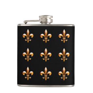 New Orleans Fleur de Lis Gold and Black Flask