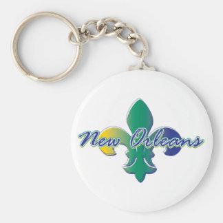 New Orleans Fleur de lis tri Basic Round Button Key Ring