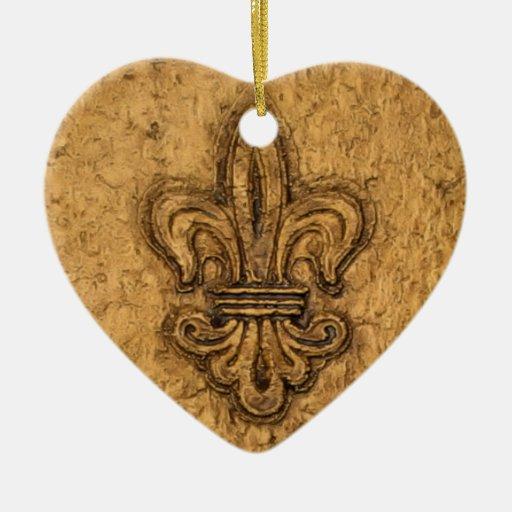 New Orleans French Fleur de Lis Ceramic Heart Decoration