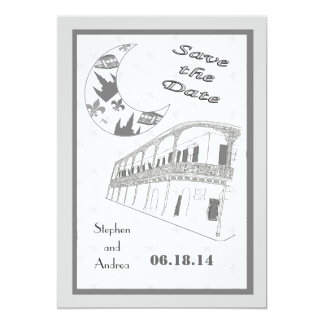 New Orleans French Quarter Save the Date Cards Custom Announcements