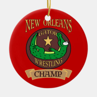 New Orleans Gator Champ Round Ceramic Decoration
