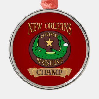 New Orleans Gator Fest Alligator Champ Silver-Colored Round Decoration