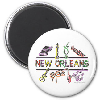 New-Orleans-ICONS- copy 6 Cm Round Magnet