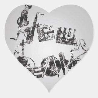 New Orleans Jazz Heart Sticker