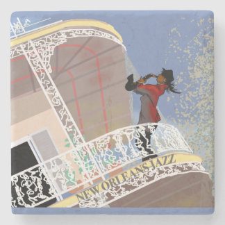 NEW ORLEANS JAZZ LADY SAX by Slipperywindow Stone Coaster