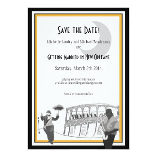 New Orleans Jazz Save the Date (black & gold) Personalized Invites