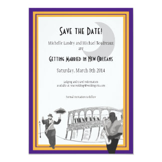 New Orleans Jazz Save the Date (purple & gold) Personalized Invites
