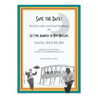 New Orleans Jazz Save the Date (teal & gold) Custom Invitations