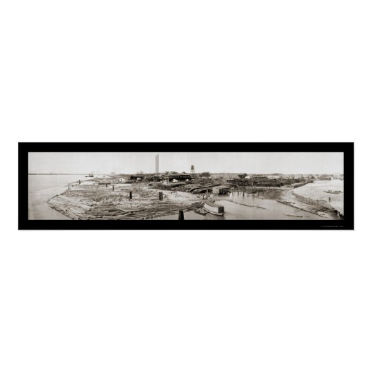 New Orleans LA Lumber Photo 1913 Poster