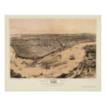New Orleans, LA Panoramic Map - 1851 Poster