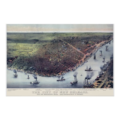 New Orleans LA Panoramic Map DIGITALLY REMASTERED Poster
