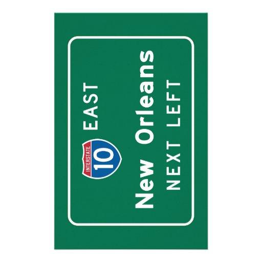 New Orleans, LA Road Sign Stationery Design